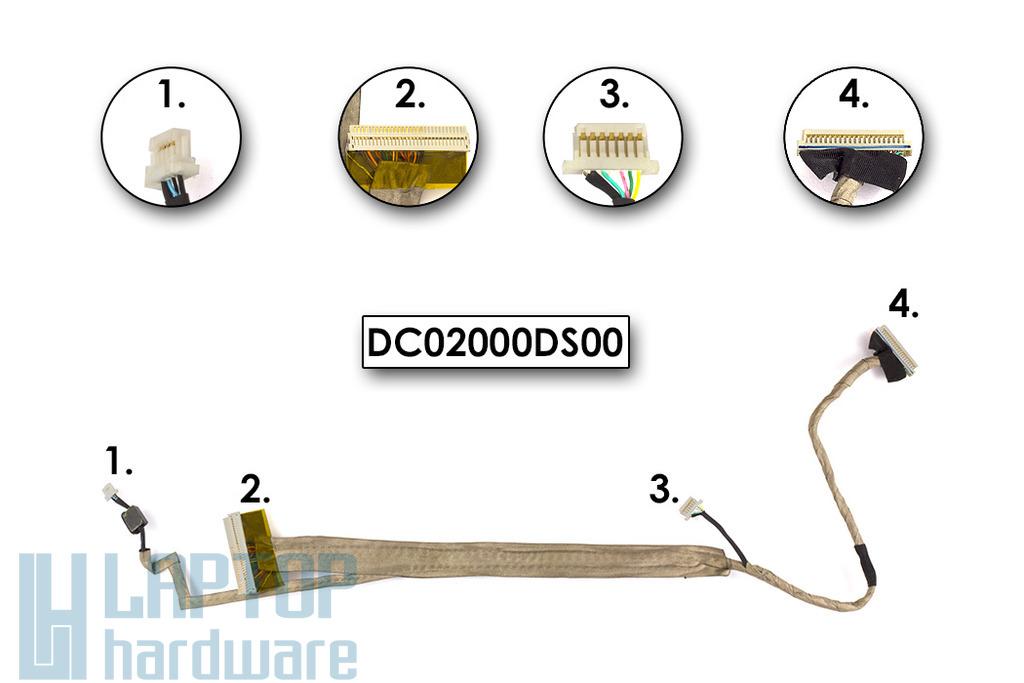 Acer Aspire 5310, 5520, 5720 laptophoz használt LCD kijelző kábel, DC02000DS00