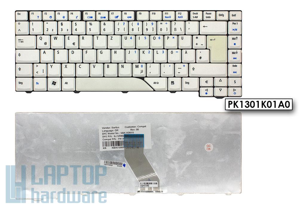 Acer Aspire 5315, 5520, 5920 gyári új német fehér laptop billentyűzet (NSK-H360G, KB.INT00.059)