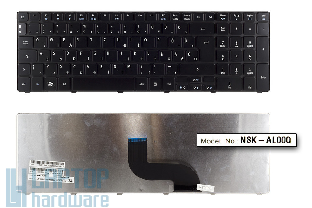 Acer Aspire 5410, 5733, 5738, 5810 gyári új magyar fényes fekete laptop billentyűzet, NSK-AL00Q, KB.I170A.069