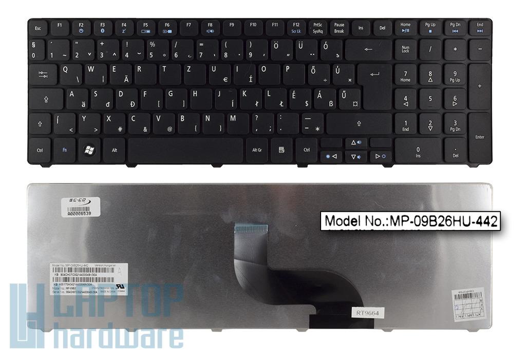 Acer Aspire 5410, 5733, 5738, 5810 gyári új magyar matt fekete laptop billentyűzet (Win7) (KB.I170A.157, MP-09B26HU-442)