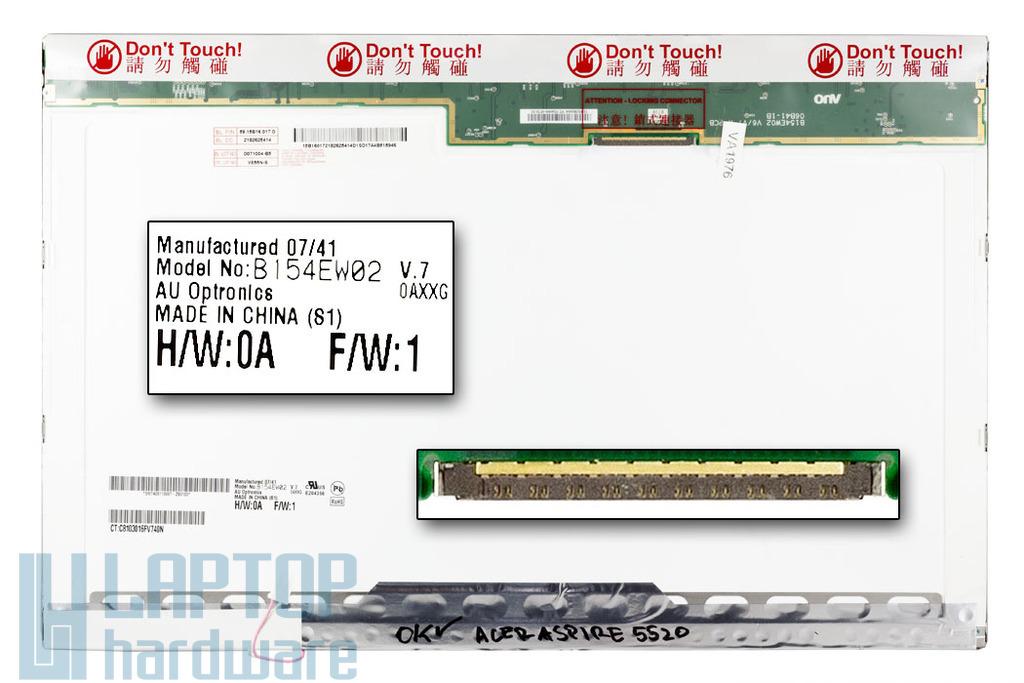 AUO B154EW02 V.7 15.4 inch WXGA (1280x800) használt fényes laptop, notebook kijelző