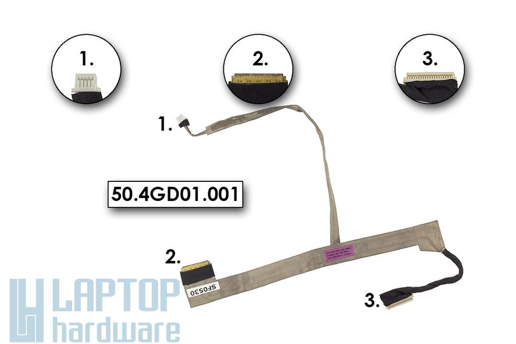 Acer Aspire 5740, 5740DG laptophoz használt kijelző kábel, webkamera csatlakozóval (50.4GD01.001)