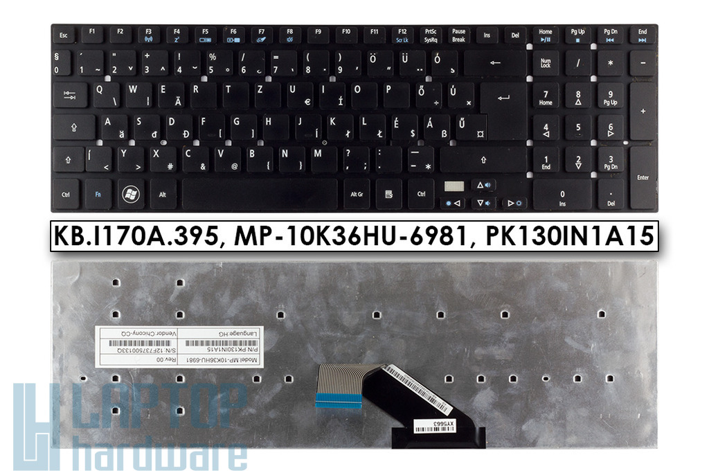 Acer Aspire V3-571G fekete magyar laptop billentyűzet