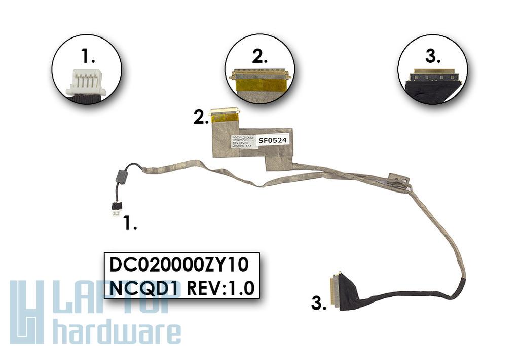 Acer Aspire 5935, 5942G használt kijelző kábel, webkamera csatlakozóval (DC020000ZY10,NCQD1)