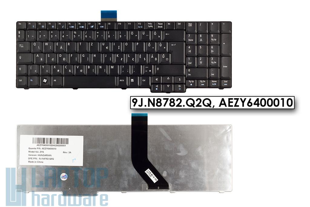 Acer Aspire 7520, 7720, 8920, 9300, 9400 gyári új magyar matt fekete laptop billentyűzet (9J.N8782.Q, AEZY6400010)