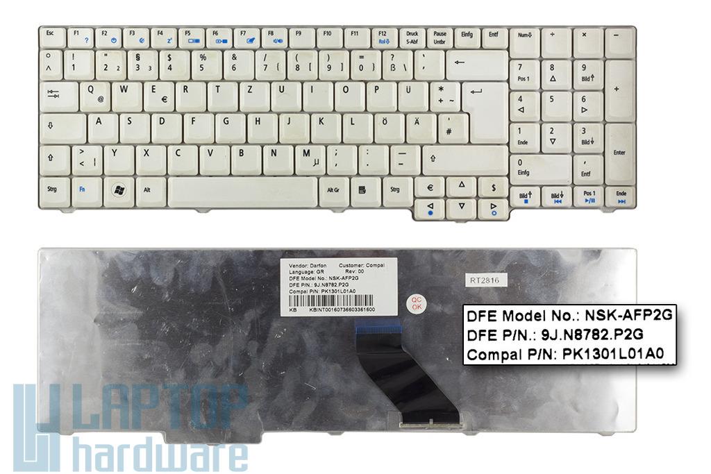 Acer Aspire 7520, 7720, 8920, 9300, 9400 használt német fehér laptop billentyűzet (NSK-AFP2G)