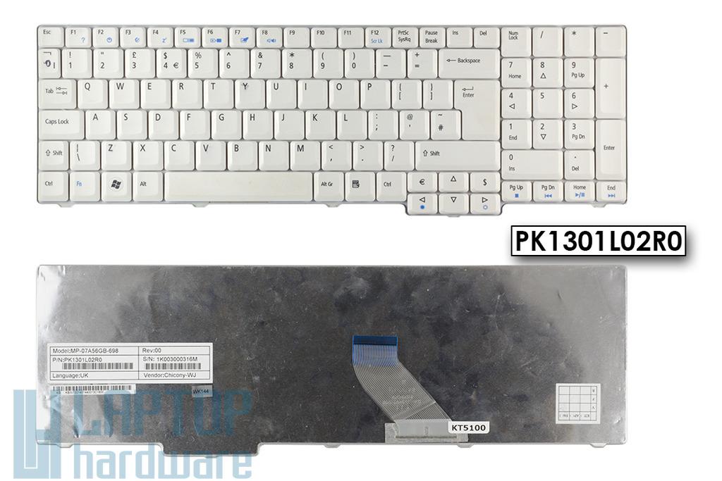 Acer Aspire 7520, 7720, 8920, 9300, 9400 használt UK angol fehér laptop billentyűzet (PK1301L02R0)