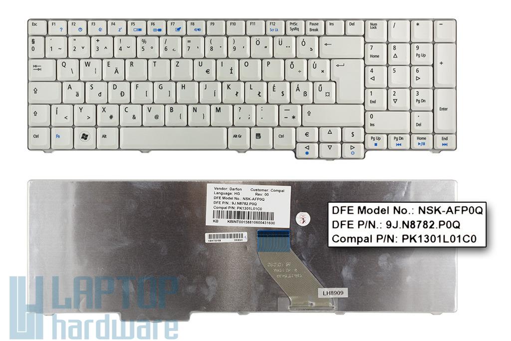 Acer Aspire 7520, 7720, 8920, 9400 gyári új magyar fehér laptop billentyűzet (NSK-AFE0Q)