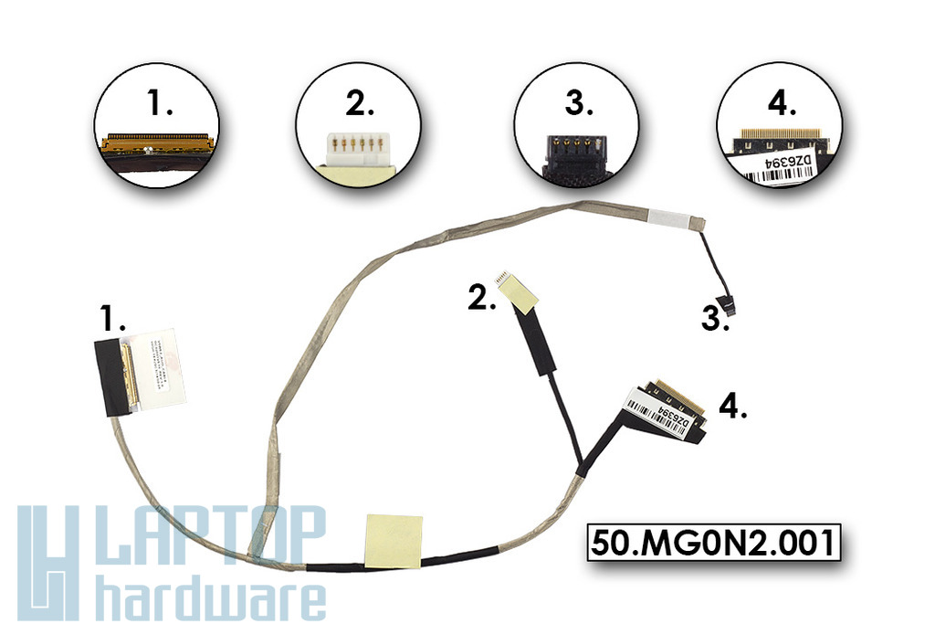 Acer Aspire E1-510P, E1-572P, V5-561P, Travelmate P255-MP gyári új LCD kijelző kábel, 50.MG0N2.001