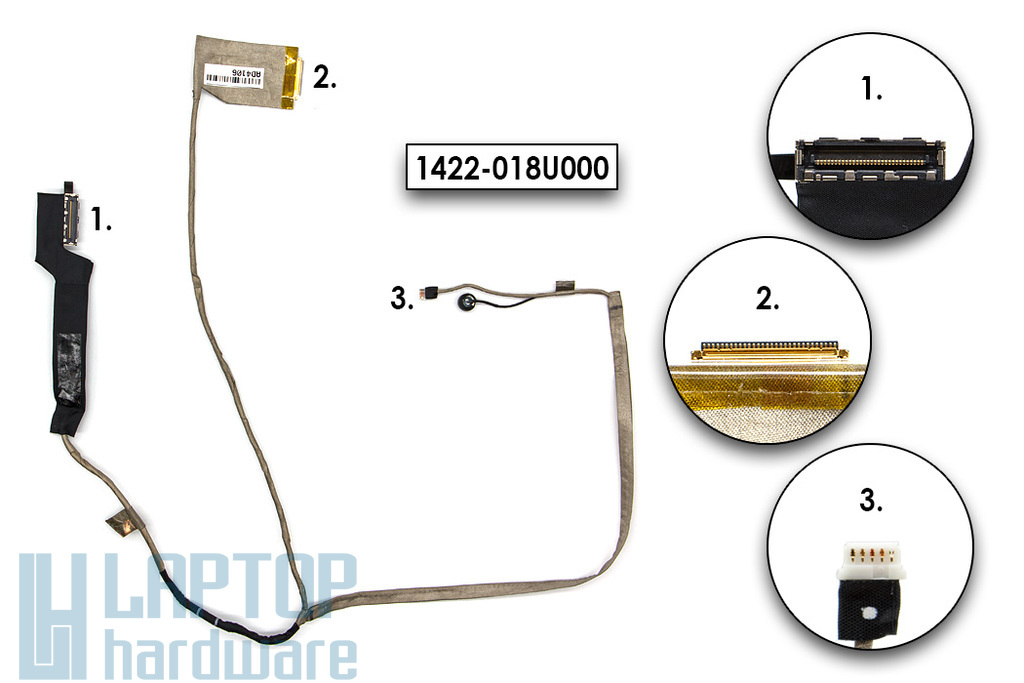 Acer Aspire E1-731, V3-771, Travelmate P273-M  használt laptop LCD kijelző kábel (50.RYNN5.004, VA70C, 1422-018U000)