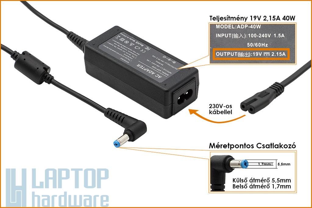 Acer Aspire One 19V 2.15A 40W helyettesítő új netbook töltő (ADP-40TH)