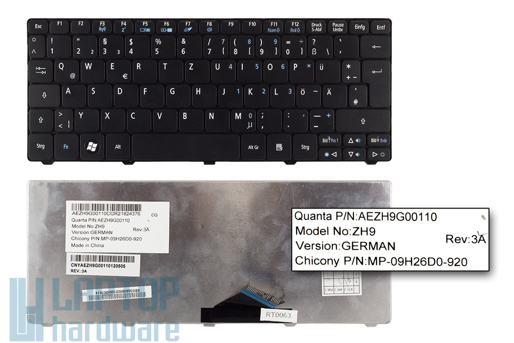 Acer Aspire One 521, A532h, D255, D260 használt német fekete laptop billentyűzet (AEZH9G00110)