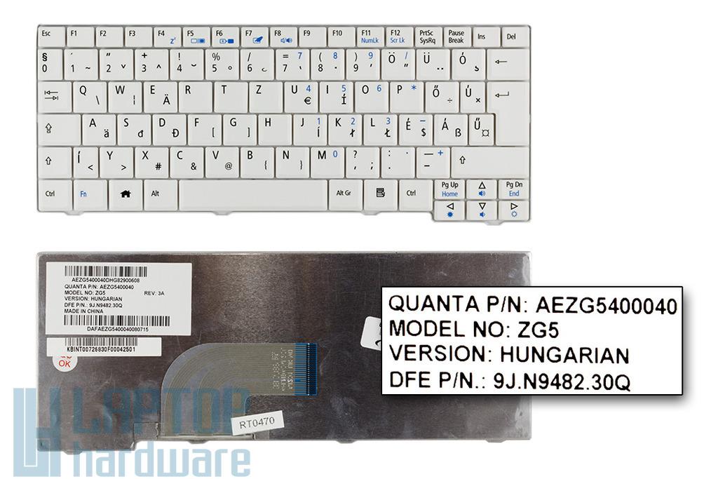 Acer Aspire One 531, A150, D150, D250, ZG5 gyári új magyar fehér laptop billentyűzet (AEZG5400040)
