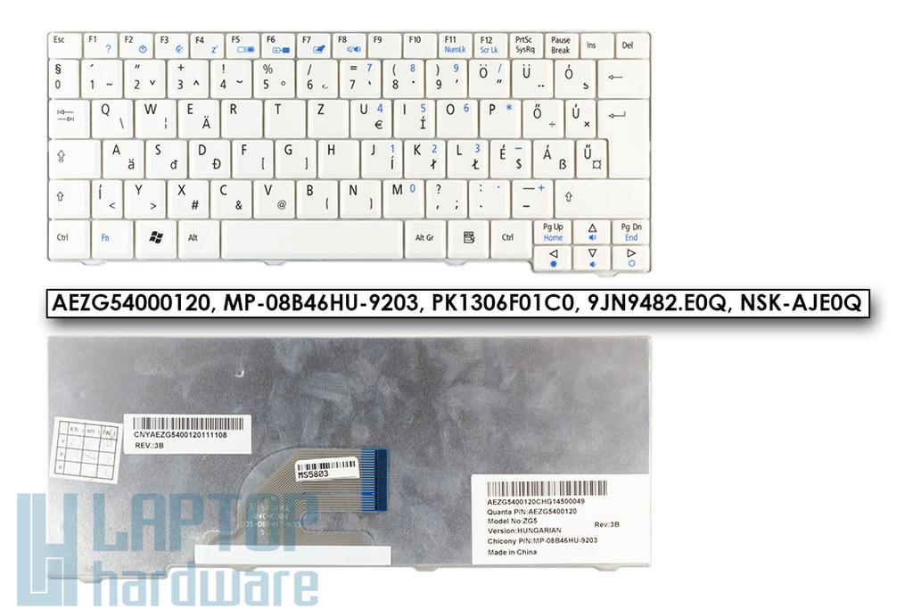 Acer Aspire One 531, A150, D150, D250, ZG5, ZG8 gyári új magyar fehér laptop billentyűzet (AEZG54000120)