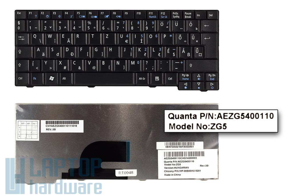 Acer Aspire One 531, A150, D150, D250, ZG5, ZG8 gyári új magyar fekete laptop billentyűzet (AEZG5400010)