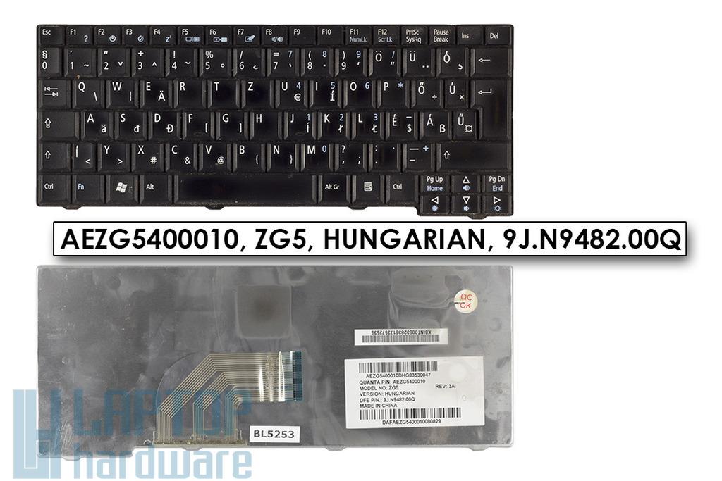 Acer Aspire One 531, A150, D150, D250, ZG5, ZG8 magyar fekete laptop billentyűzet
