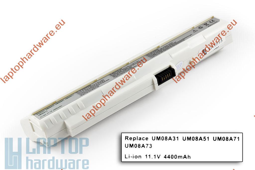 Acer Aspire ONE A110, A150, ZG5 helyettesítő használt 80%-os 6 cellás fehér laptop akku/akkumulátor (UM08A73)