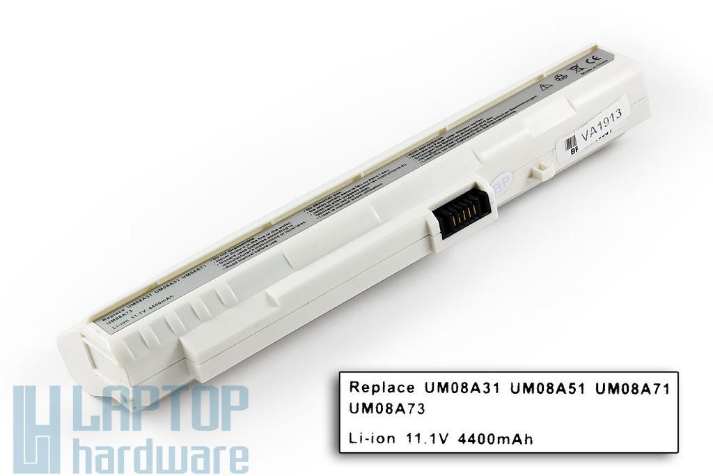 Acer Aspire ONE A110, A150, ZG5 helyettesítő új 6 cellás fehér laptop akku/akkumulátor (UM08A71)