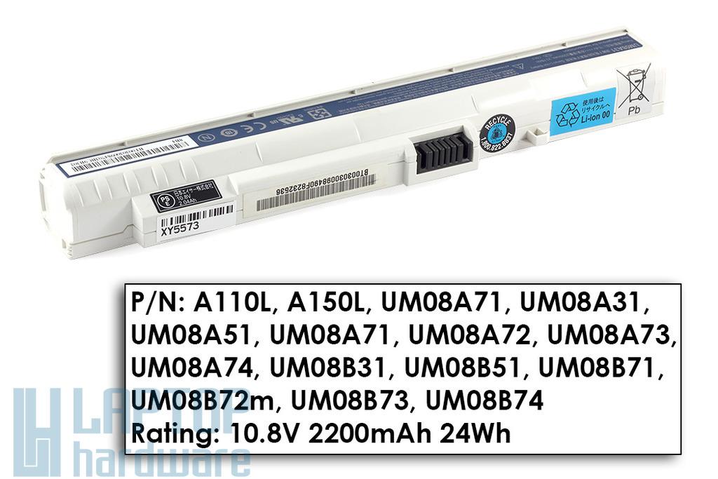 Acer Aspire One A110, A150, ZG5 használt 60%-os 3 cellás fehér laptop akku/akkumulátor (UM08A31)
