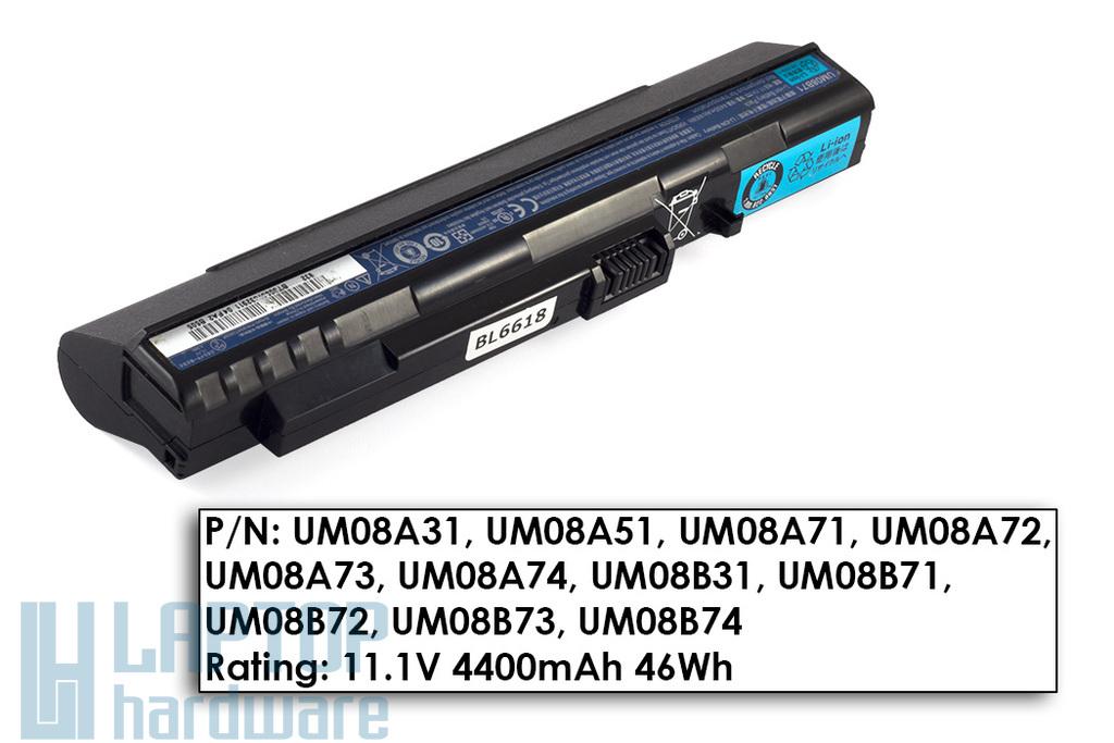 Acer Aspire ONE A110, A150, ZG5 használt 9 cellás, 40%-os laptop akku/akkumulátor  UM08B71