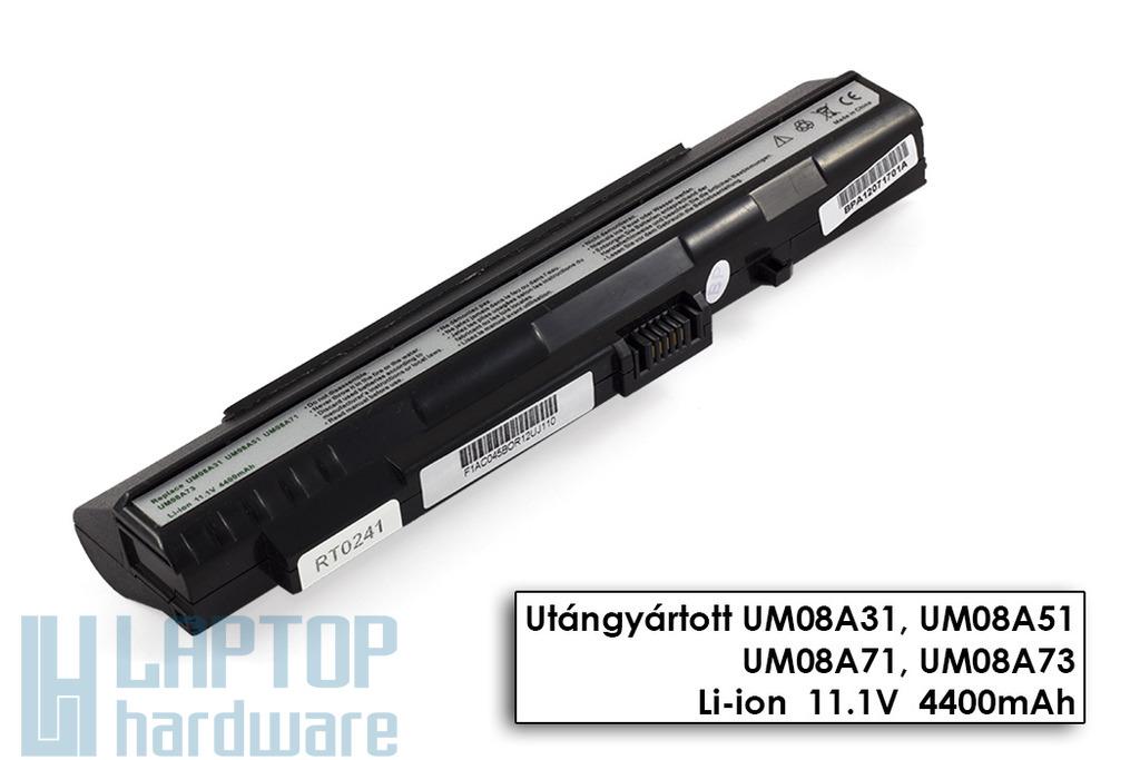 Acer Aspire ONE A110, A150, ZG5 helyettesítő új 6 cellás fekete laptop akku/akkumulátor (UM08A71)