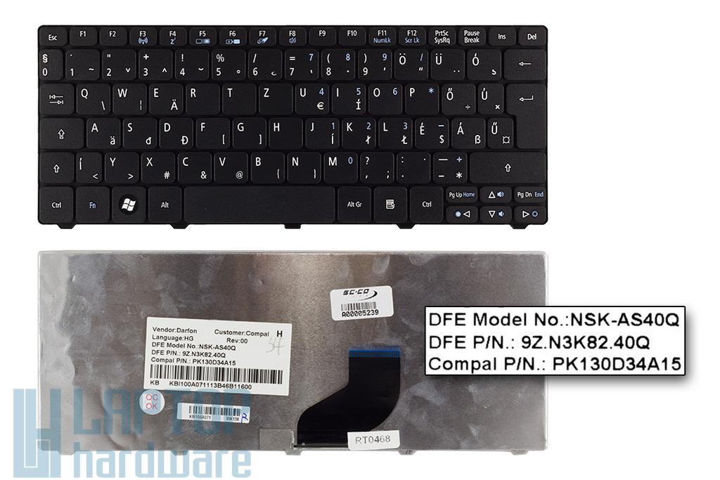 Acer Aspire One 533, D255, HAPPY2 gyári új magyar fekete laptop billentyűzet (KB.I100A.071)