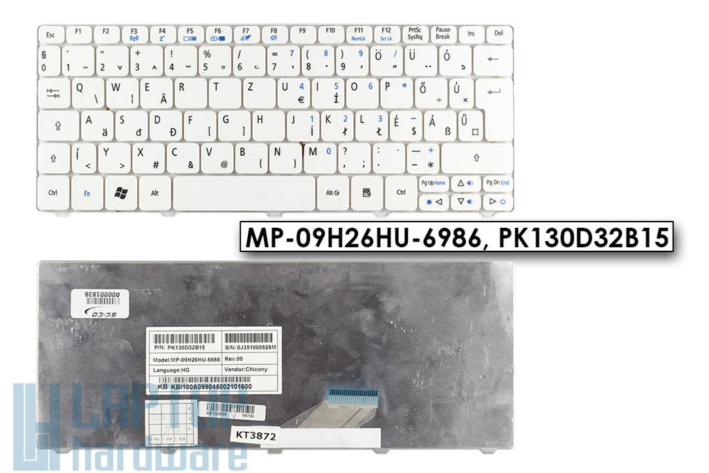 Acer Aspire One A532h, D255, D260 használt magyar fehér laptop billentyűzet, MP-09H26HU-6986