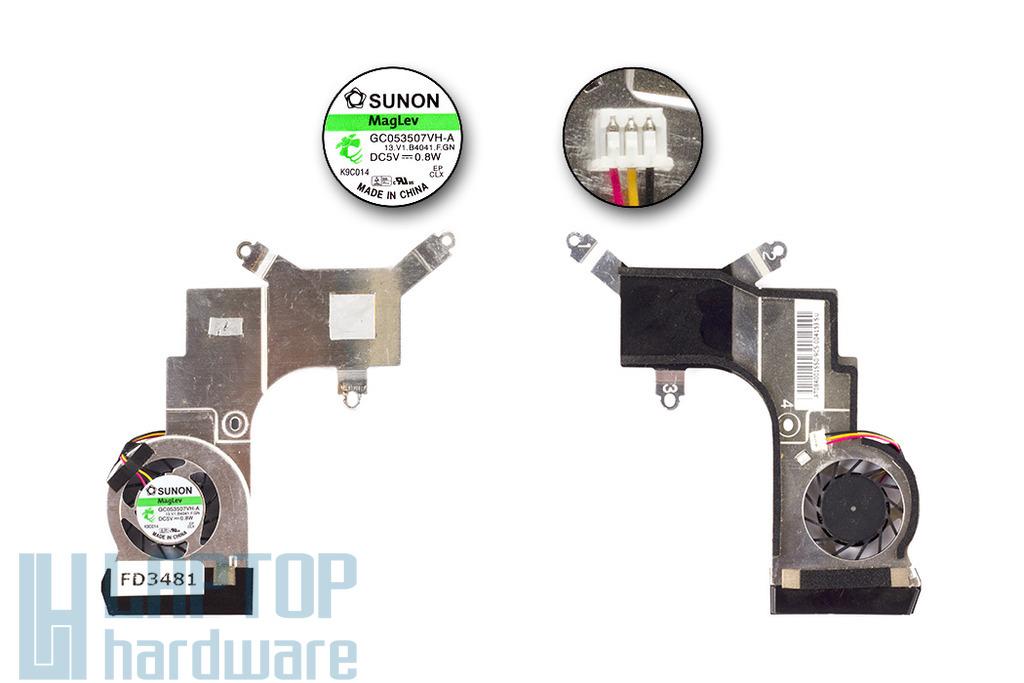 Acer Aspire One D250, KAV60 gyári új hűtő ventilátor, GC053507VH-A, 13.V1.B4041.F.GN, 60.S6802.006