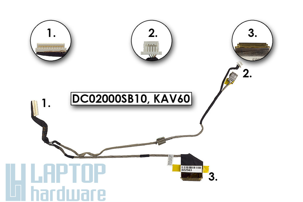 Acer Aspire One D250, KAV60 laptop kijelző kábel, nagy webkamera csatlakozós, mikrofonnal, DC02000SB10