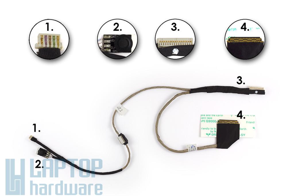 Acer Aspire One D250, KAV60 laptophoz gyári új kijelző kábel, kis webkamera csatlakozós (50.S6902.001)