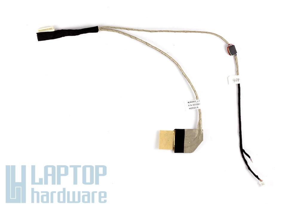 Acer Aspire One D250, KAV60 laptop kijelző kábel, nagy webkamera csatlakozós, mikrofon nélkül, DC02000SB10