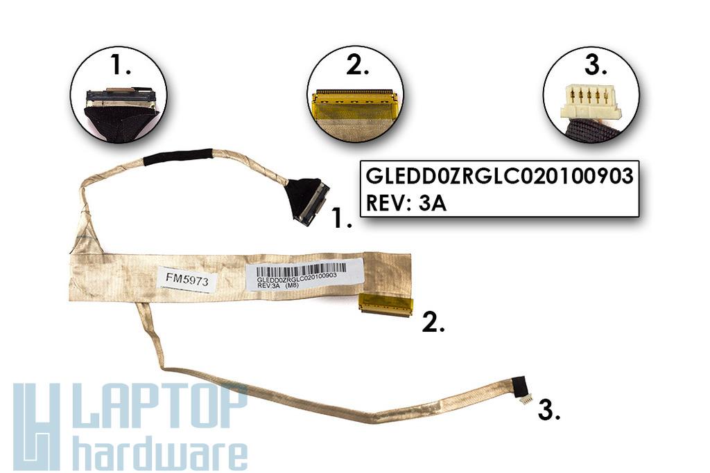 Acer Extensa 5235, 5635 és Emachines E528, E728 használt kijelző kábel, webkamera csatlakozóval, LCD cabel with webcam connector, GLEDD0ZRGLC