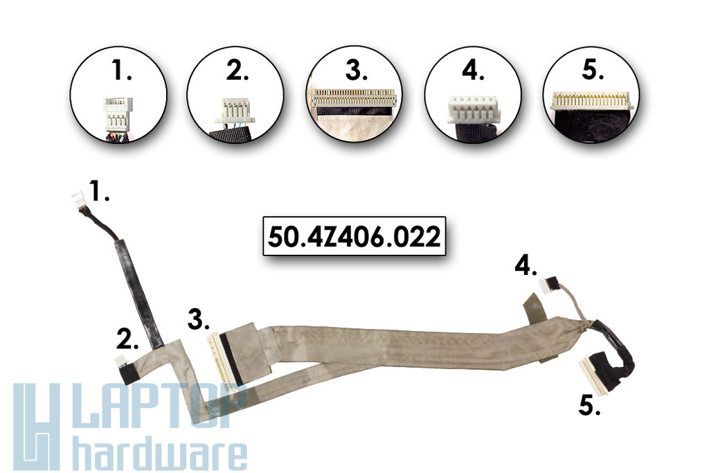 Acer Travelmate 5230, 5530, 5730 laptophoz használt LCD kábel, 50.4Z406.022