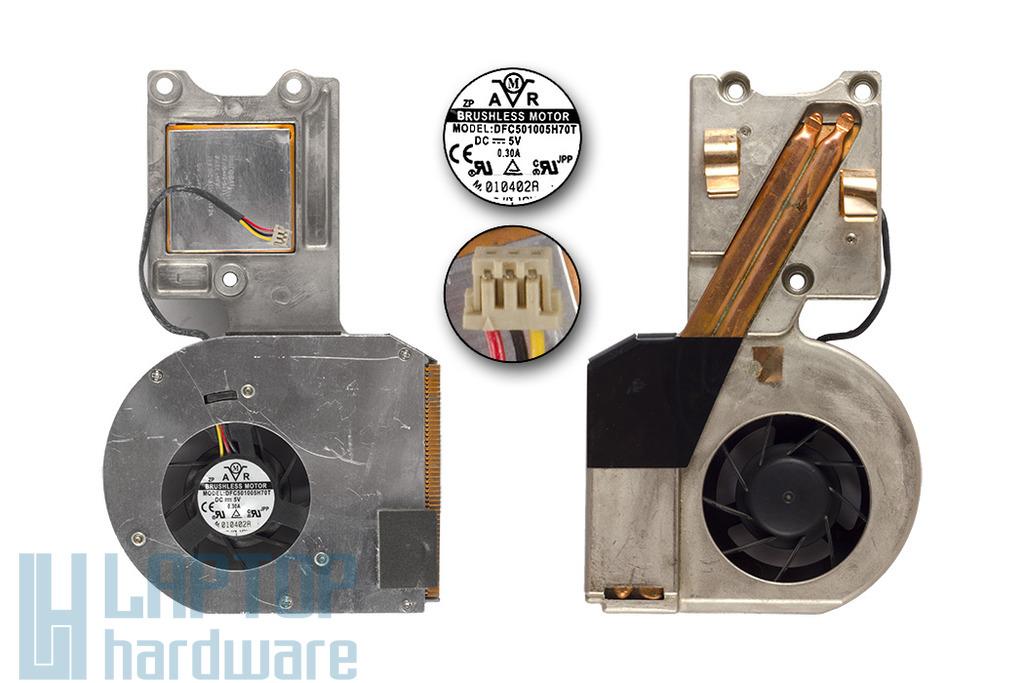 Advent 7006, használt komplett laptop hűtő ventilátor egység (DFC501005H70T)