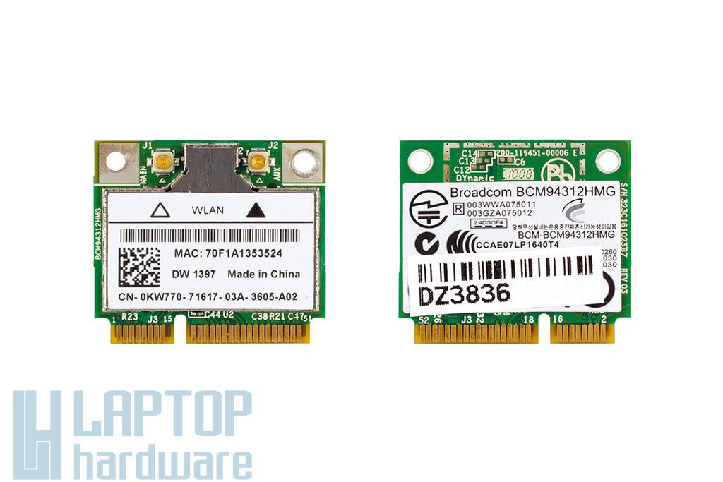 Akciós! Dell Használt wifi kártya, Wlan card, BCM94312HMG, DW 1397, 0KW770