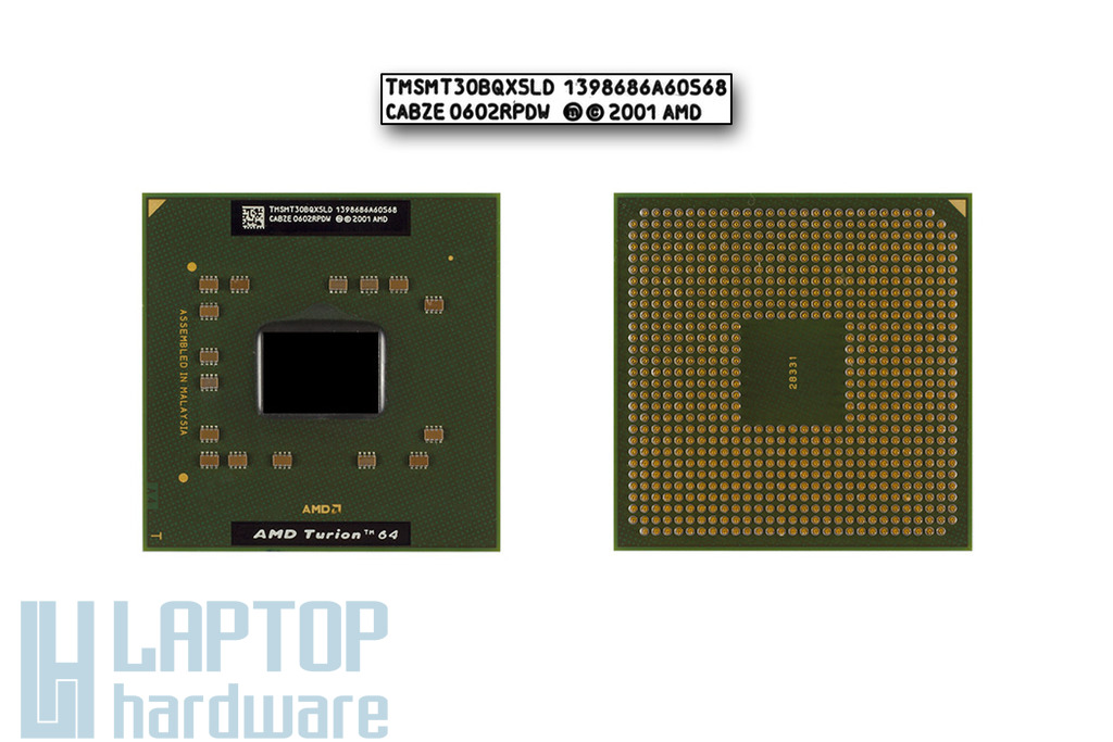AMD Turion 64 MT-30 1600MHz használt laptop CPU (TMSMT30BQXSLD)