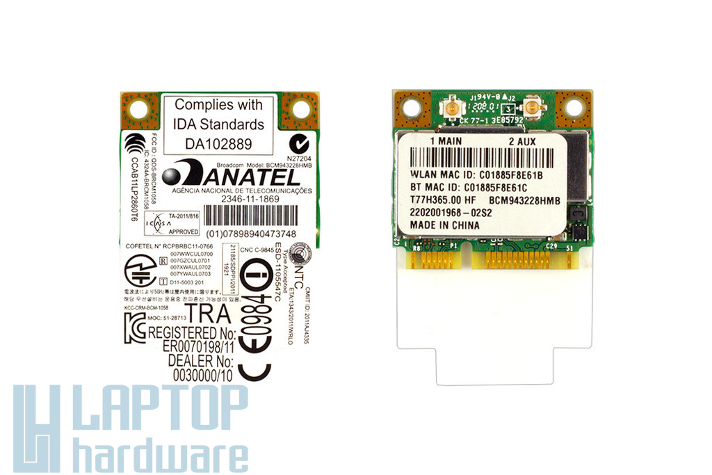 Anatel Broadcom BCM943228HMB használt laptop Mini PCI-e (half) WiFi és BlueTooth (4.0) kártya (T77H365.00 HF, NI.23600.100)
