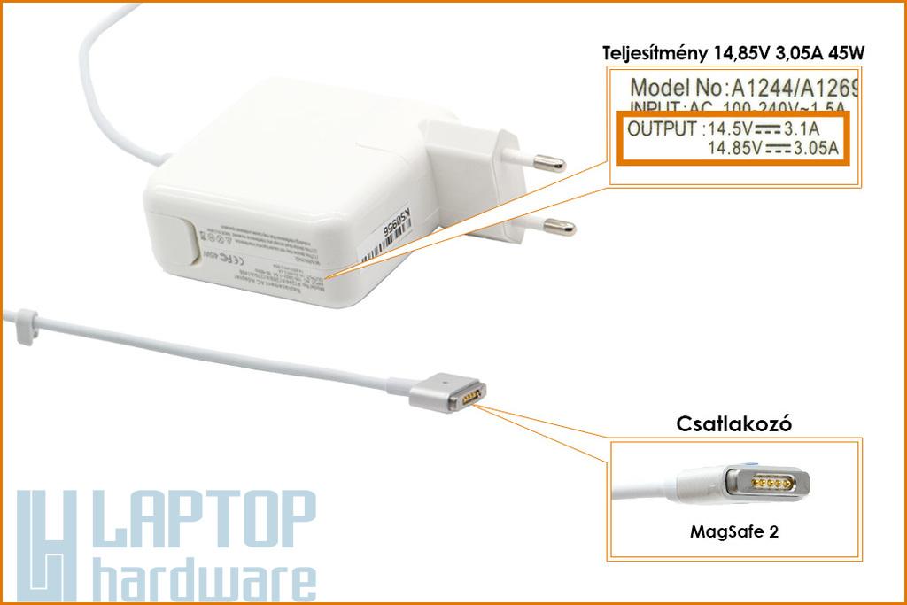 Apple 14.85V 3.05A 45W MagSafe 2 helyettesítő új laptop töltő (A1436)
