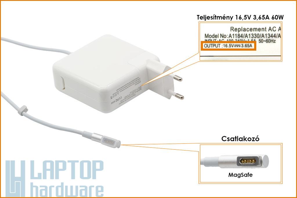 Apple 16.5V 3.65A 60W MagSafe helyettesítő új laptop töltő (A1184, MC461Z/A)