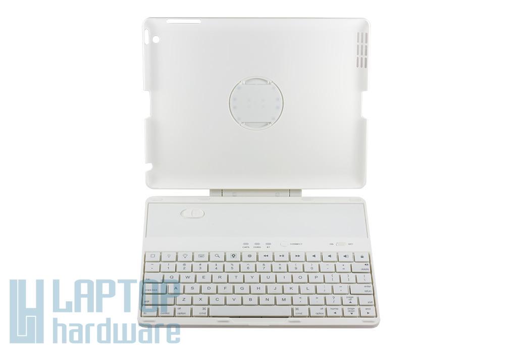 Apple iPad 2, 3, 4 fehér Bluetooth wireless billentyűzet, 360 fokban elforgatható műanyag tartóval