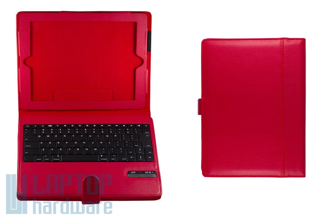 Apple iPad 2, 3, 4 piros Bluetooth wireless billentyűzet, tokkal