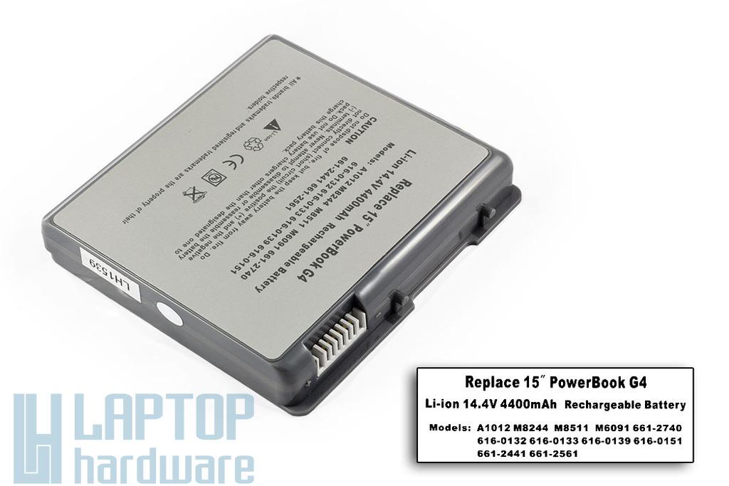 Apple PowerBook G4 Titanium A1012 helyettesítő új laptop akku/akkumulátor