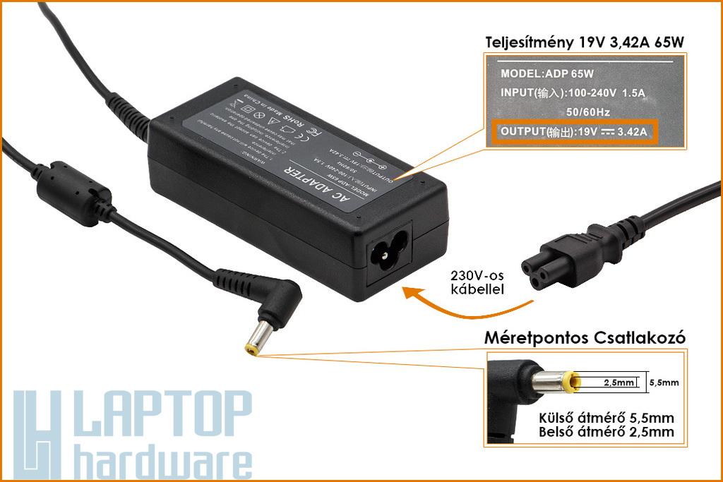 Asus 19V 3.42A 65W helyettesítő új laptop töltő (EXA0703YH, PA-1650-01, PA-1700-02, ADP-65JH DB)