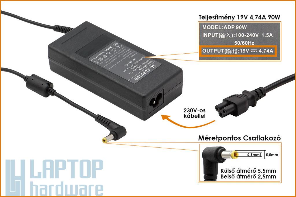 Asus 19V 4.74A 90W helyettesítő új laptop töltő (ADP-90SB BB, PA-1900-24, EXA0904YH)