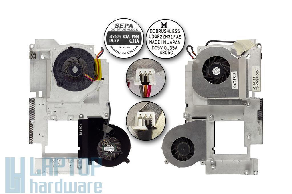 Asus A2L laptophoz használt ventilátor egység (70-N7V1P3000)