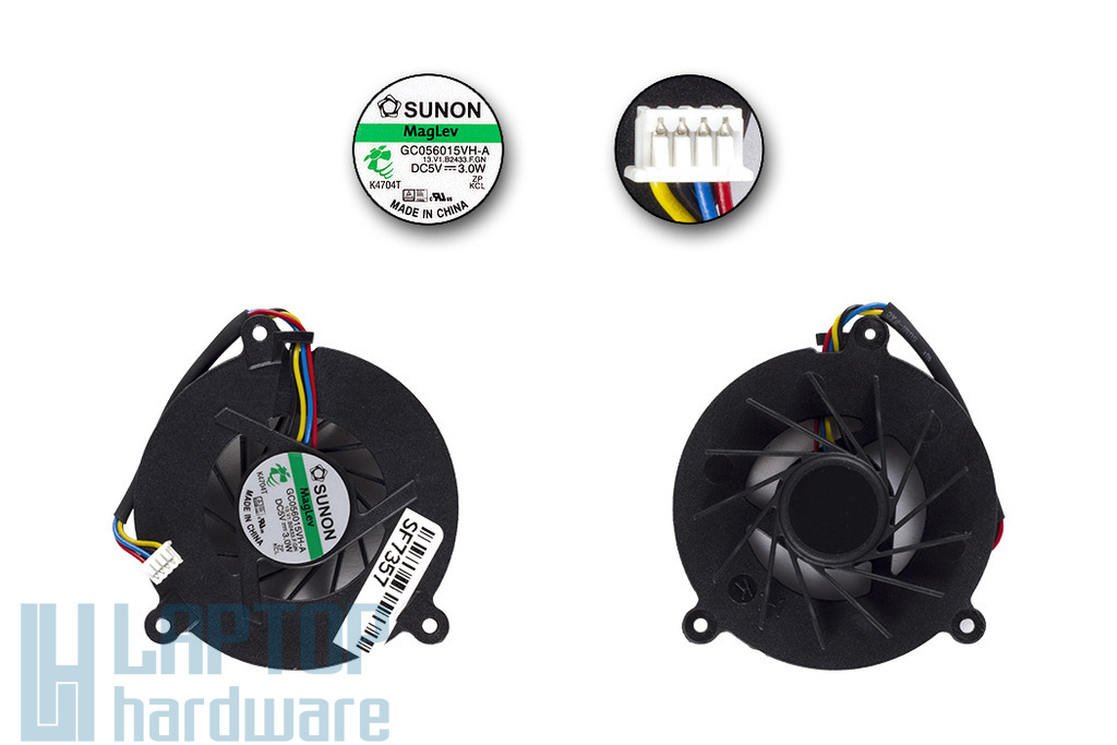 Asus A8, F8S, F3, Z53, Z99 gyári új laptop hűtő ventilátor, 4-pines, (GC056015VH-A)