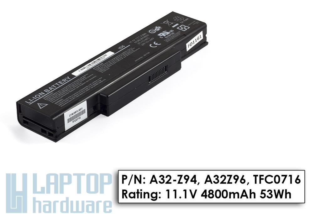 Asus A9, Z94, MSI GX720 használt 70%-os 6 cellás helyettesítő laptop akku/akkumulátor (A32-Z94, BTY-M66)
