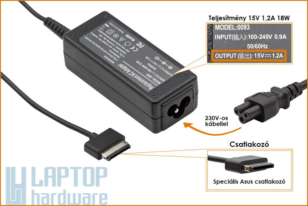 Asus EeePad Transformer TF101, TF201, SL101 15V 1200mA 18W helyettesítő új laptop töltő