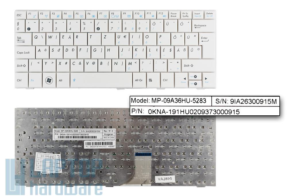 Asus EEEPC 1001HA, 1005HA, 1008HA gyári új magyar fehér laptop billentyűzet (MP-09A36HU-5283)