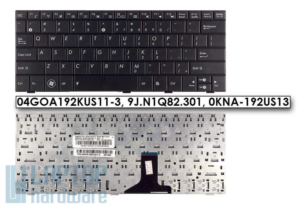 Asus EEEPC 1001HA, 1005HA, 1008HA gyári új US angol fekete laptop billentyűzet, 04GOA192KUS11-3